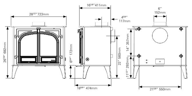 Stockton 11HB Boiler Stove Dimensions
