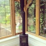 Cute little wood burner installed today in the orangery #woodburner #stovax #oakorangery #primeoak #renovation #restoration