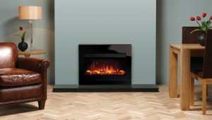 The Gazco Riva2 670 Electric Designio2 Glass may be hearth mounted or installed higher up the wall.