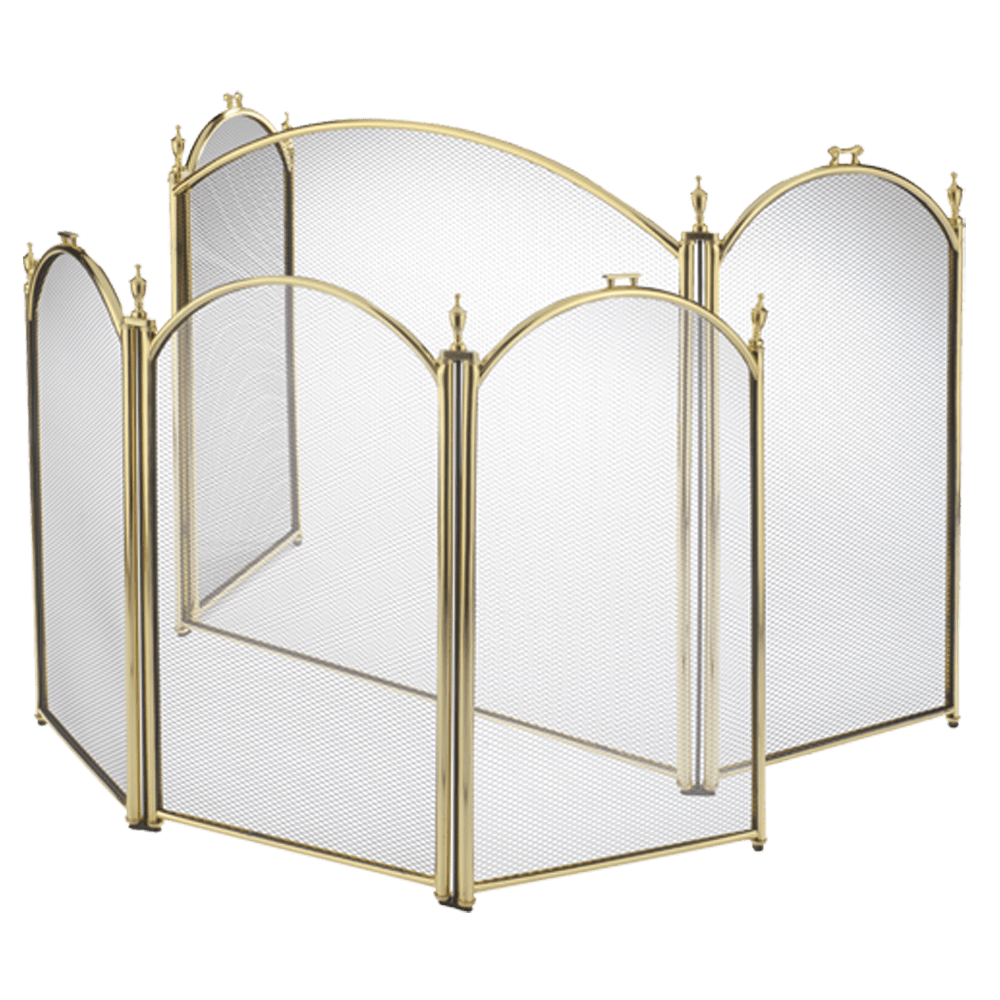 3-Panel Brass Fire Screen