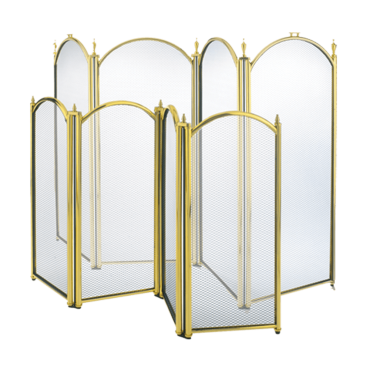 4-Panel Brass Fire Screen