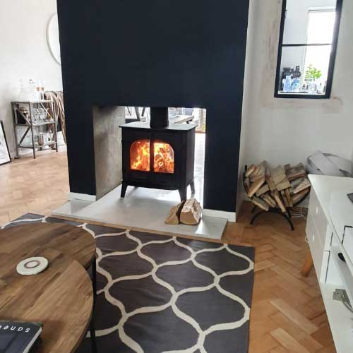 Olivia & Leighton,Stockton 8 double sided stove, 1950s South London Renovation