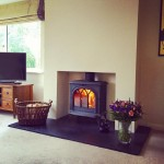 Recent installation of a @StovaxGazco Huntingdon 35 with honed granite hearth!