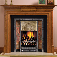 Art Nouveau Fireplace Insert with gas fire, showing brass hood, Evening Reverie tiles and Chatsworth Wood Mantel