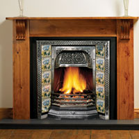 Victorian Fireplace Insert, shown with Peony tiles and Victorian Wood Mantel