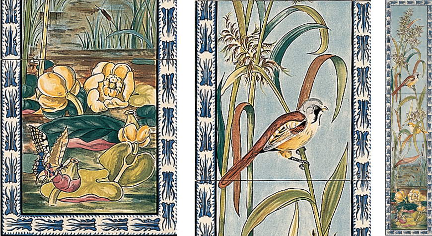 Birds & Butterfly Decorated Fireplace 5 Tile Sets - Stovax