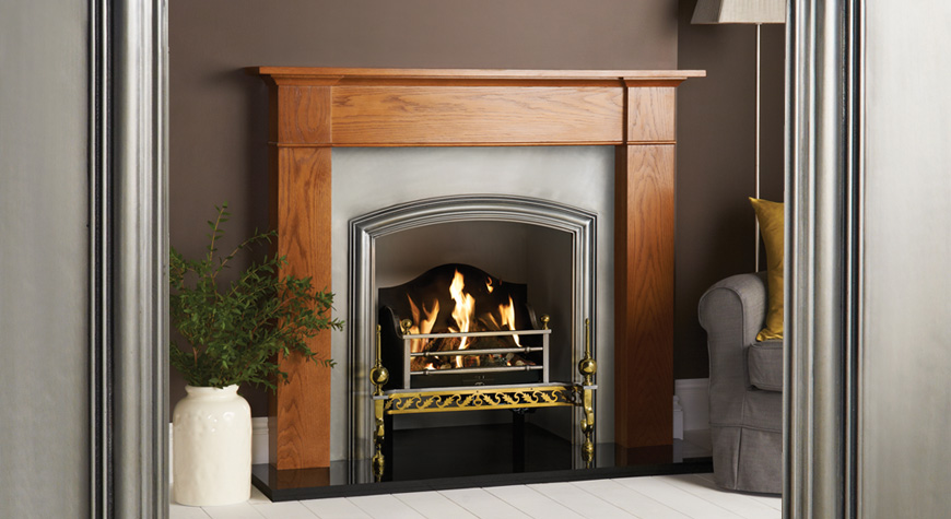 stovax berkeley insert fireplace polished with brompton rich oak mantel - Fireplace Fronts
