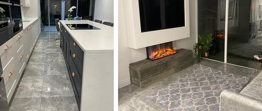 eReflex electric fire in kitchen-diner