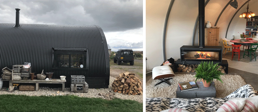 Studio Wood burner in Justin Hooper's Nissen Hut
