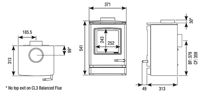 CL3 Gas Stoves Dimensions