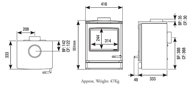 CL5 Gas Stoves Dimensions