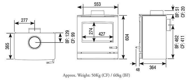 CL8 Gas Stoves Dimensions