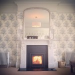 Recent installation of an @StovaxGazco Elise 540 cassette stove with slate slips & original marble fireplace