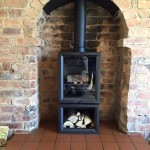 Yesterday's install of a Stovax View 5 T Midline into existing opening. @StovaxGazco