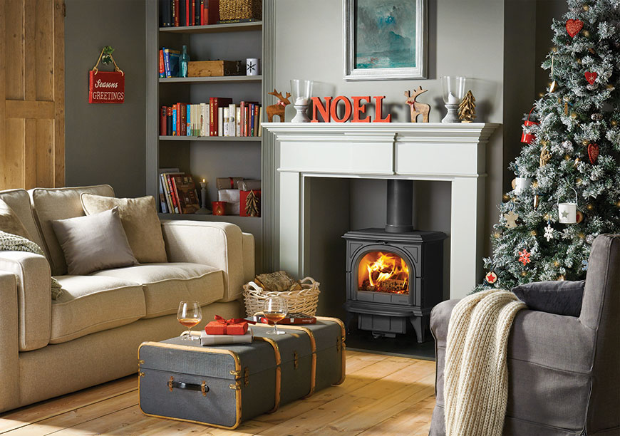 Christmas Huntingdon 30 stove with Pembroke mantel