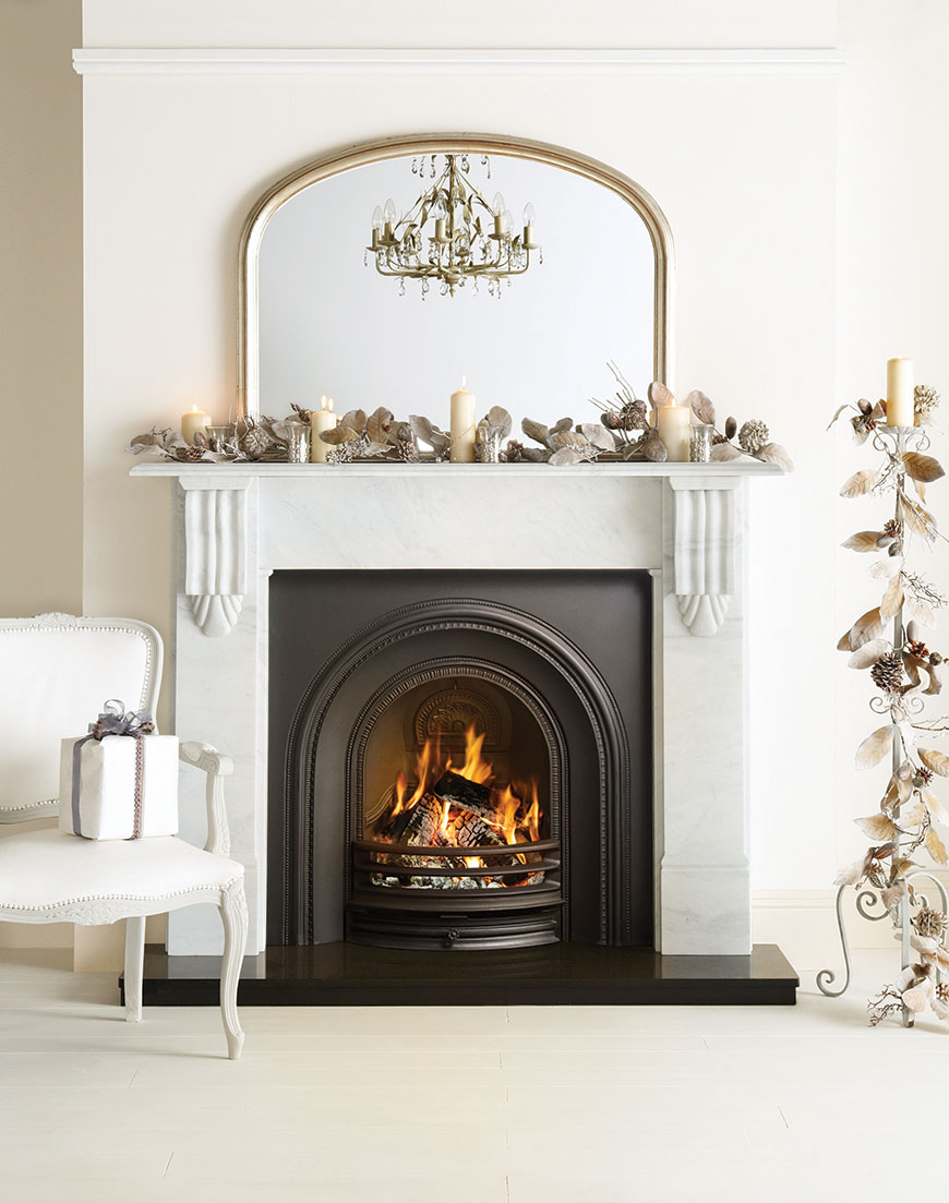 Stovax Decorative Arched Insert with Victorian Corbel mantel