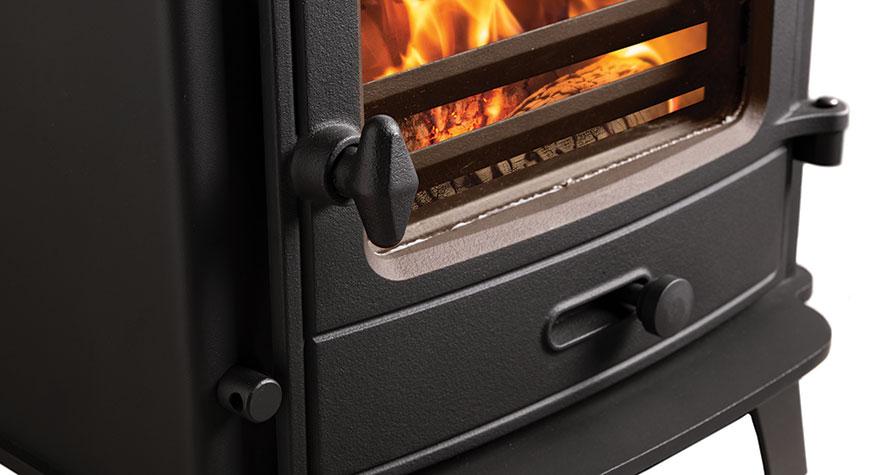 Closeup of the Stovax County 5 multi fuel stove