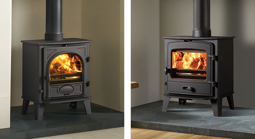 Side by side of Stovax County 5 multi fuel stove and Stovax Stockton 4 multi fuel stove