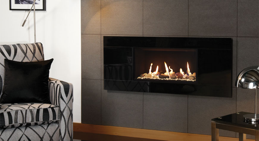 Studio Glass Gas Fires Gazco Built In, Fire Stones For Fireplace