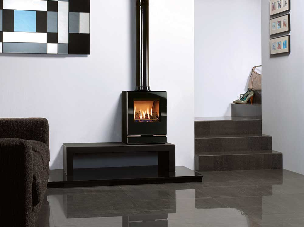 small gas stove fireplace. Wonderful Gas Gazco Vision Small Gas Stove On 120 Low Bench Throughout Gas Stove Fireplace