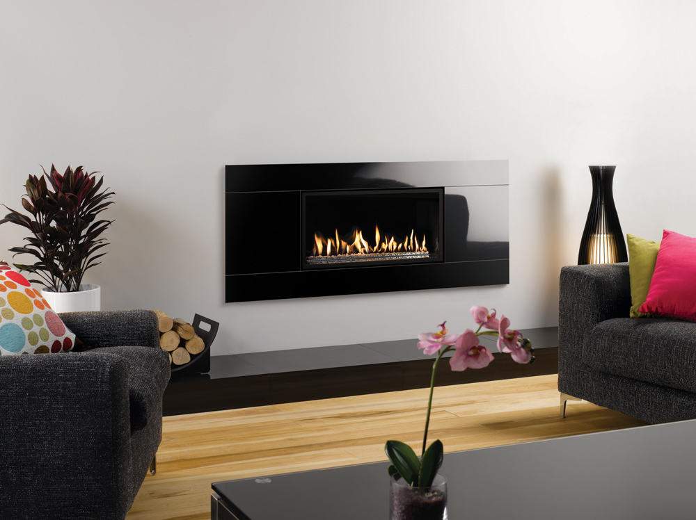 Gazco Studio 1 Glass gas fire, Balanced Flue Glass Fronted with White stone  fuel bed - Studio Glass Gas Fires - Gazco Built In Fires, Contemporary Fireplaces