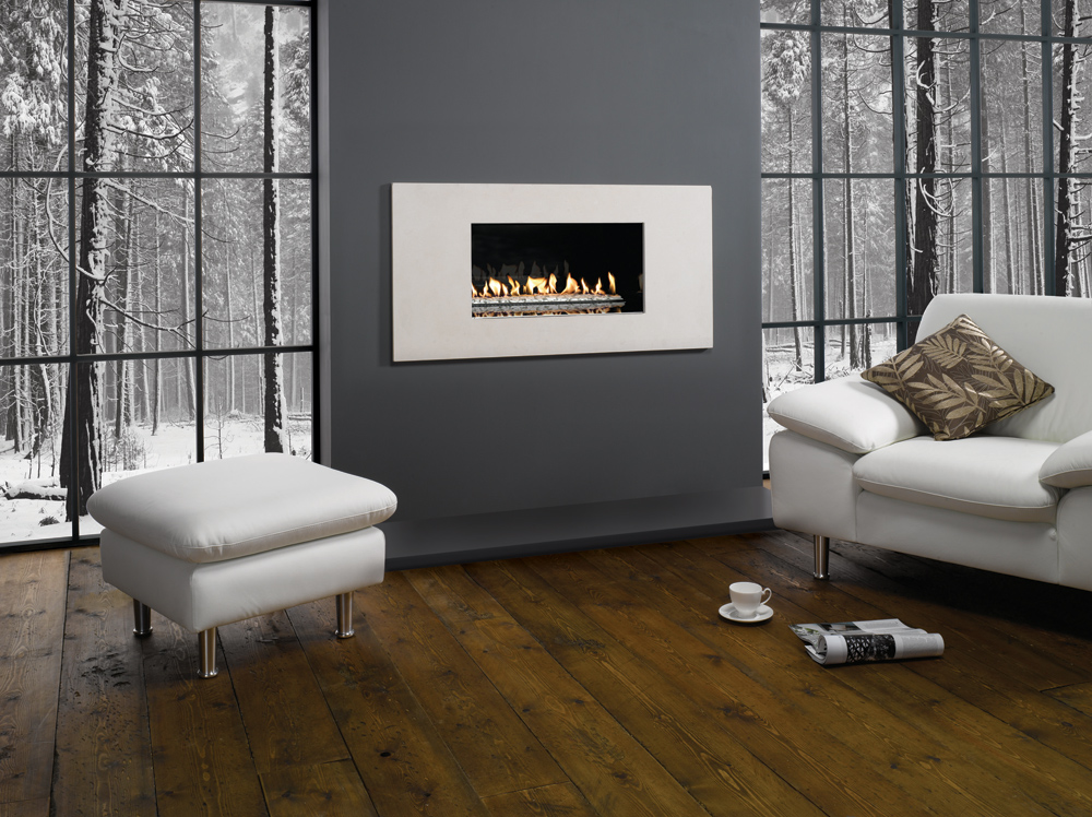 Gazco Studio 1 Pienza Gas Fire Open Fronted With White Stone Fuel Bed Conventional Flue