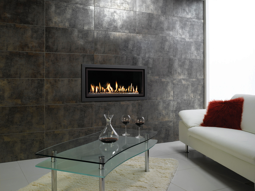 Gazco Studio 2 Profil Gas Fire Balanced Flue Glass Fronted In Anthracite Finish With White Stone Fuel Bed