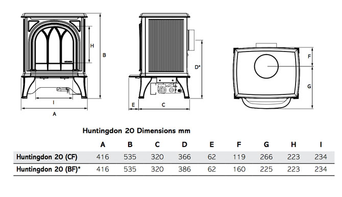 Huntingdon 20 Gas Stoves Dimensions