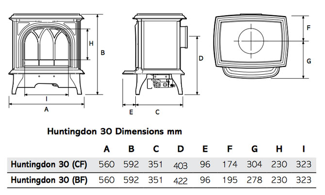 Huntingdon 30 Gas Stoves Dimensions