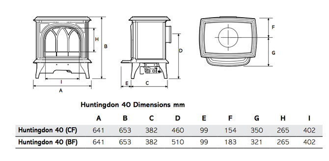 Huntingdon 40 Gas Stoves Dimensions