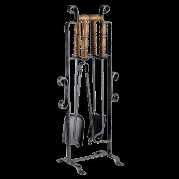 4pc Wrought Iron/Wood Handle Tool Set