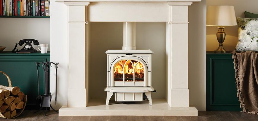 Stovax Huntington 30 wood burning with Ivory Enamel finish