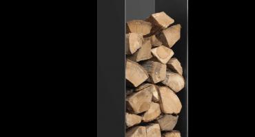 Black Log Holder with Wheels – Highline