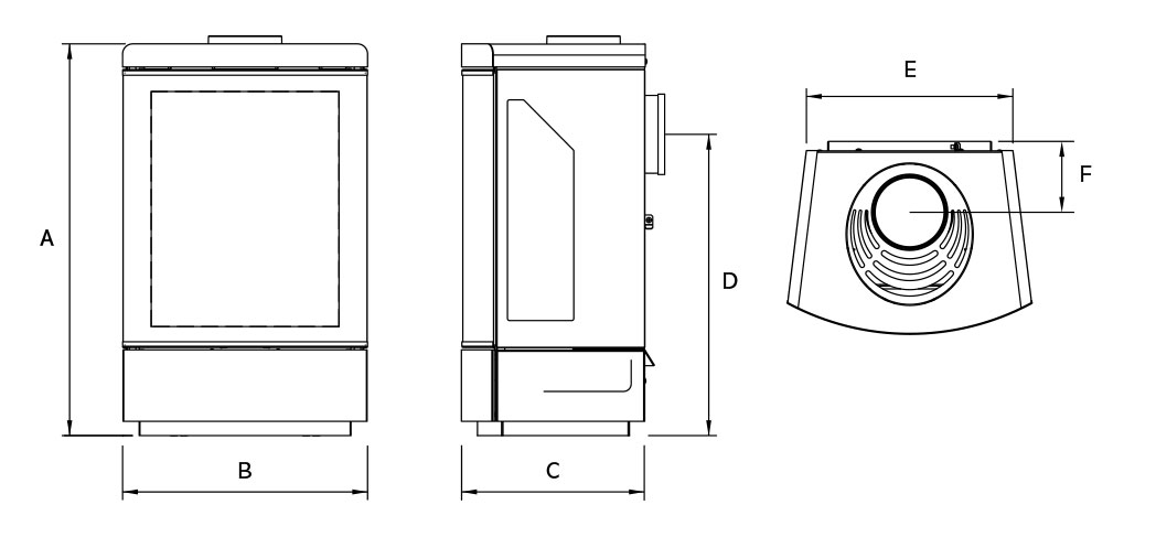 Loft Gas Stoves Dimensions