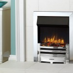 Gazco Logic2 Electric Arts with Polished steel effect frame and front log effect fuel bed