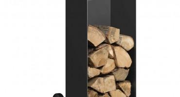 Black Log Holder with Wheels – Medium