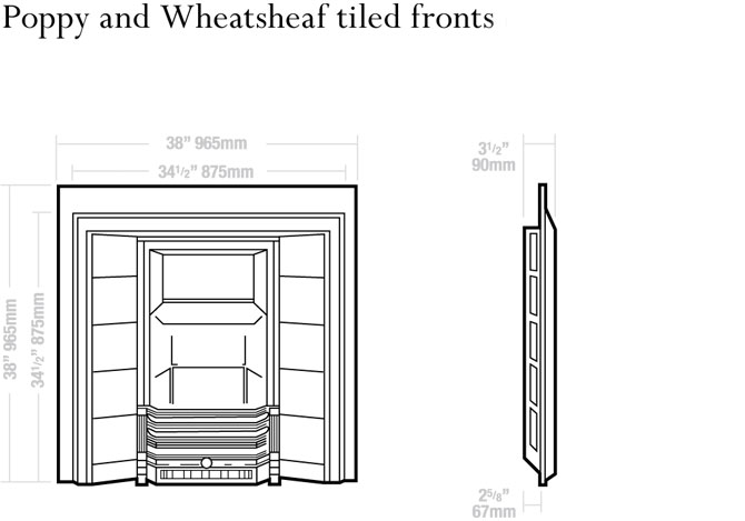 Poppy and Wheatsheaf Tiled Fronts Dimensions