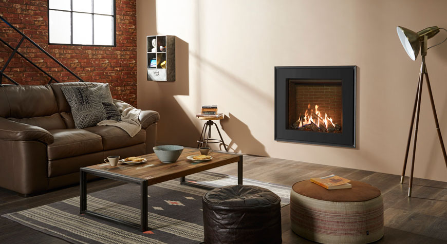 Gazco's Reflex 75T Evoke Steel with graphite front and rear with brick effect lining