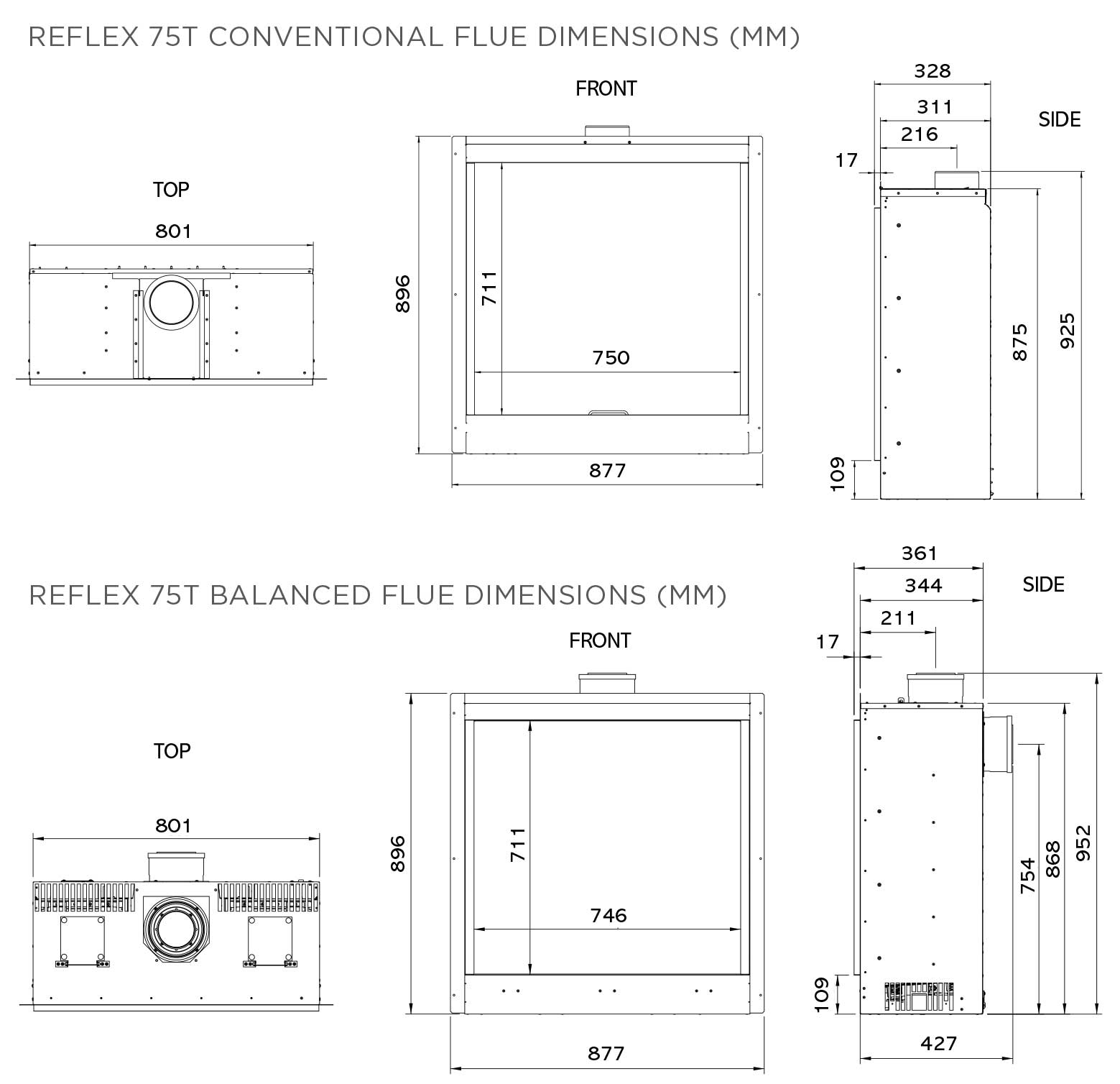 Reflex 75T Evoke Steel Dimensions