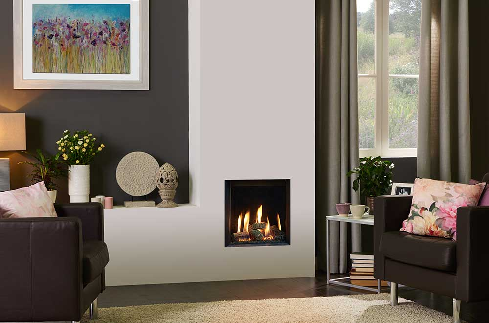 Gazco Riva2 400 Edge Gas Fire With Black Glass Lining