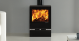 Riva Vision midi woodburning on Riva Glass plinth and ceramic glass top