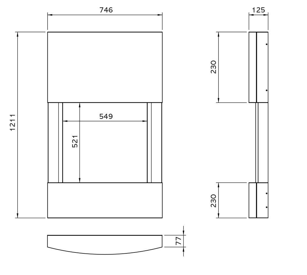 Riva2 500HL Slimline Esprit Surround Dimensions