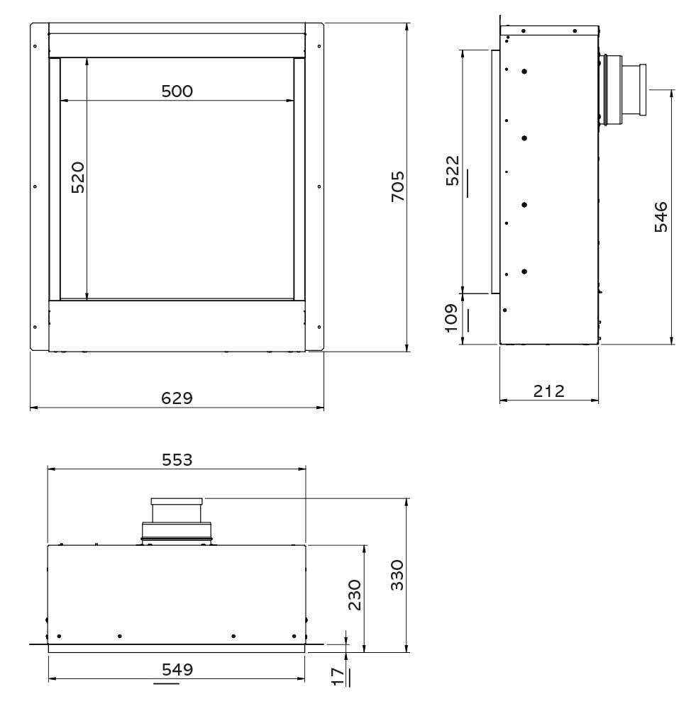 Riva2 500HL Slimline Icon XS Dimensions
