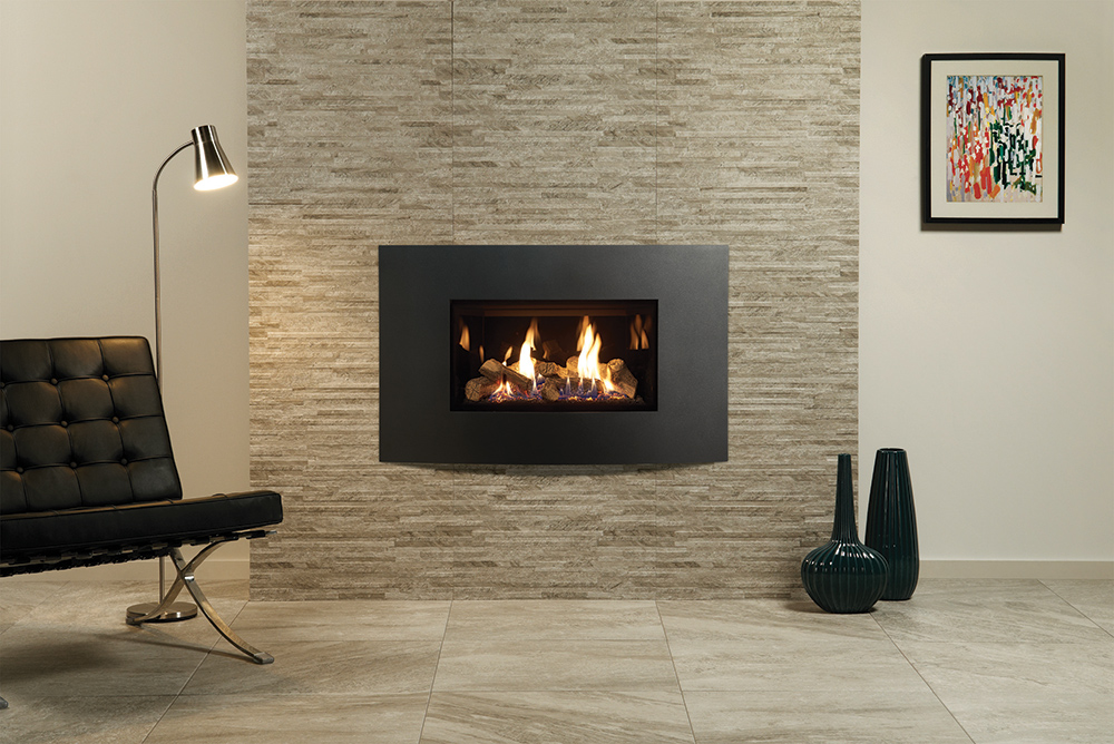 Fire In Wall Part - 50: Gazco Riva2 670 Verve XS Gas Fire In Graphite With Black Glass Lining Shown  With Slate Di Savoia Mosaic Finish Fire Surround Tiles