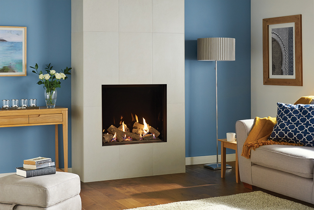 Gazco Riva2 750hl Edge Gas Fire With Black Glass Lining