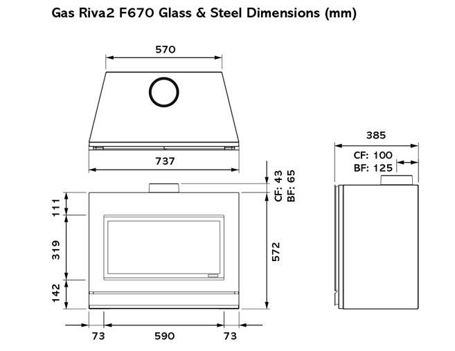 Riva2 F670 Gas Stoves Dimensions