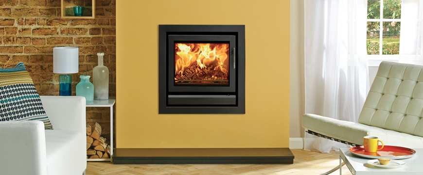 Stovax Riva 50 inset fire with standard 4 sided frame in Jet Black Metallic with removable handle in situ.