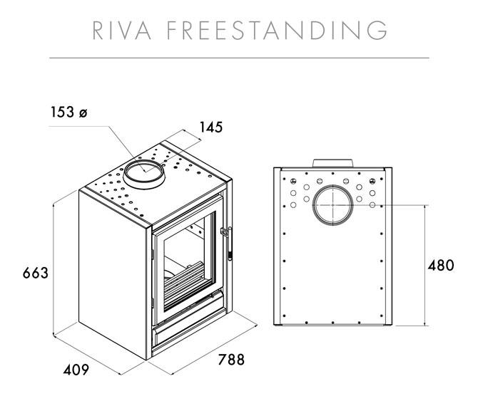 Riva F76 Freestanding Dimensions