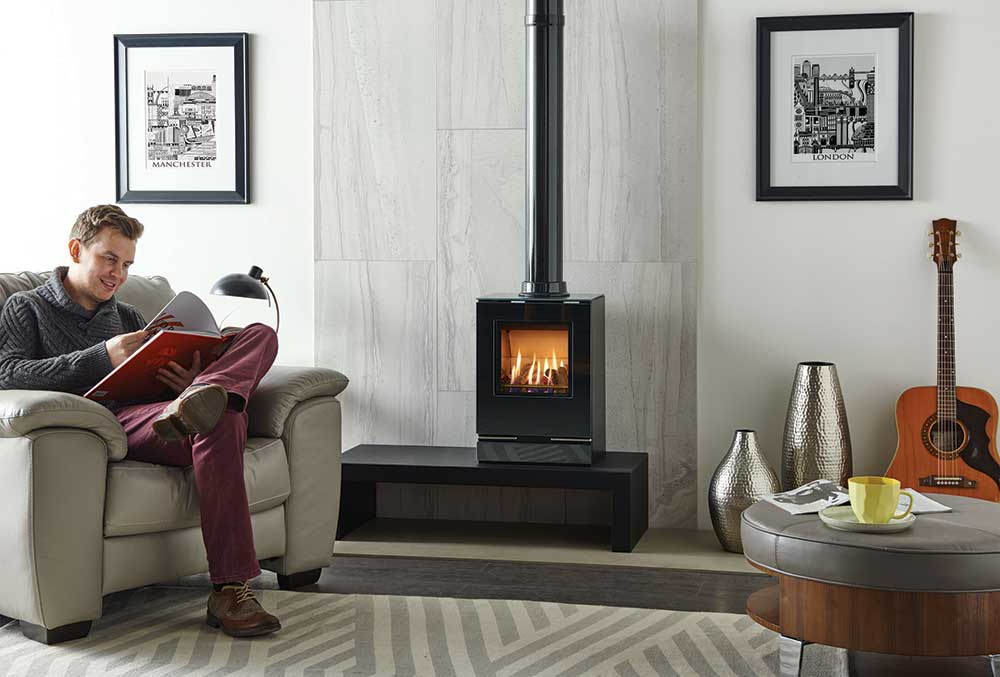 The Gazco Vision Small gas stove offers beautiful