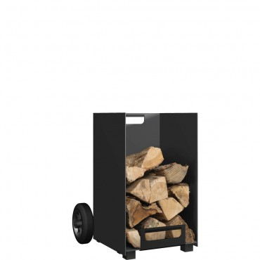 Black Log Holder with Wheels – Small